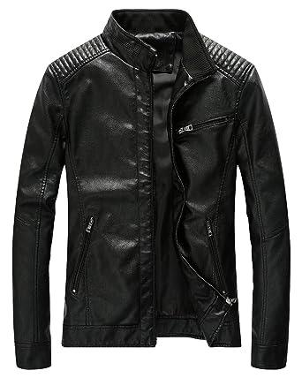 4ec574e143ef4 Fairylinks Leather Jacket Men Black Slim Fit Motorcyle Lightweight ...