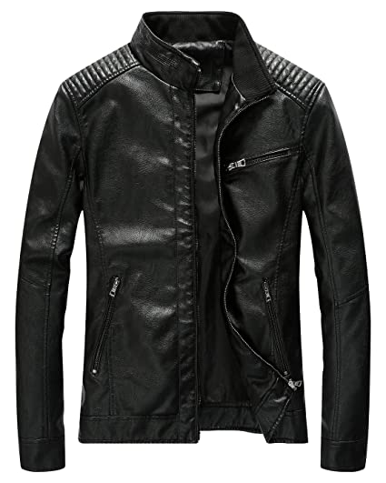 19fdc6088 Fairylinks Leather Jacket Men Black Slim Fit Motorcyle Lightweight