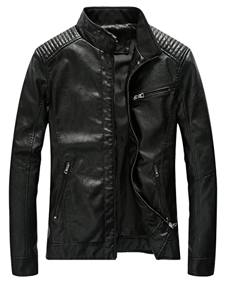 3777063119 Fairylinks Leather Jacket Men Black Slim Fit Motorcyle Lightweight at  Amazon Men s Clothing store