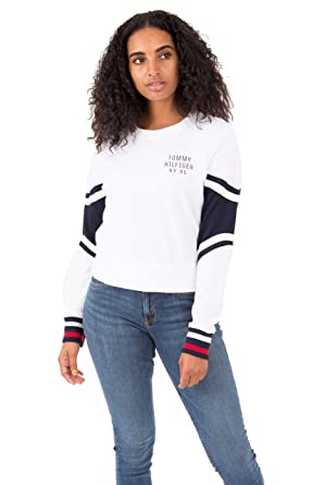 00a4db81a Tommy Hilfiger Women's Cropped Pullover Sweatshirt Tee (Bright White, Small)