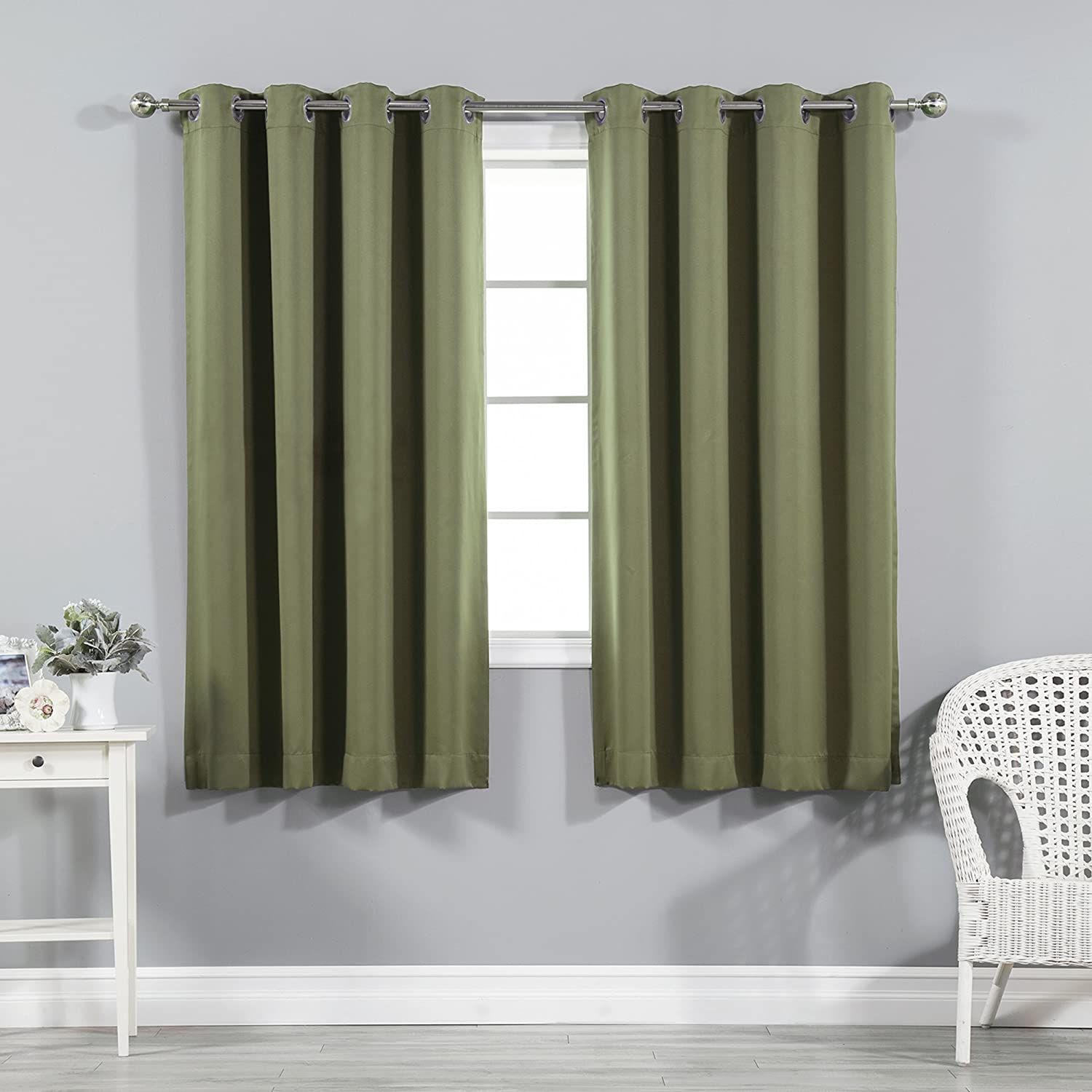 "Best Home Fashion Premium Thermal Insulated Blackout Curtains - Stainless Steel Nickel Grommet Top - Olive - 52"" W x 63"" L - (Set of 2 Panels)"