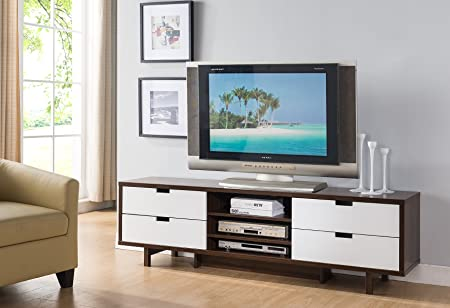 Smart home 161479 Entertainment Center TV Stand 60 Inch, Dark Walnut Glossy White