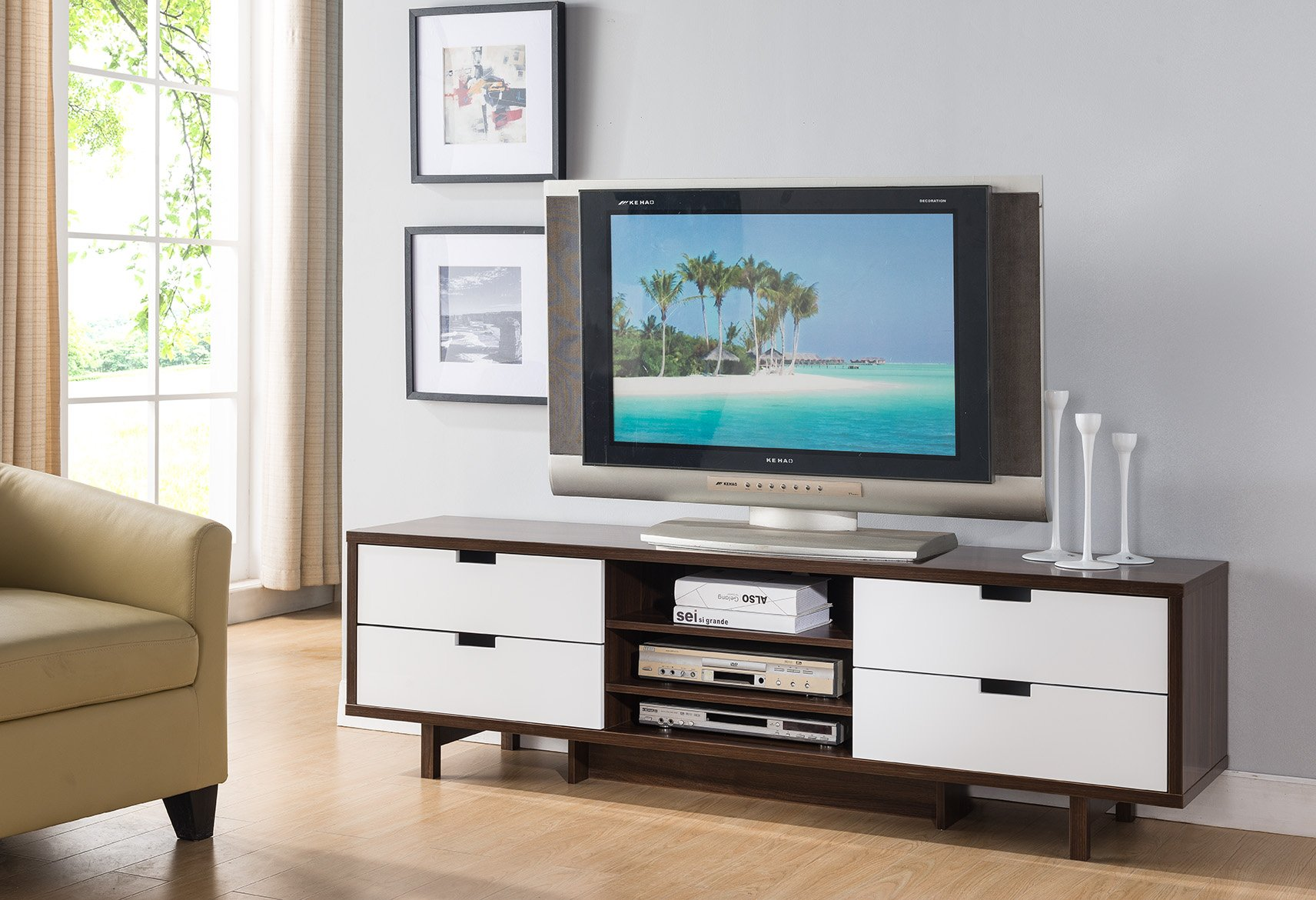 "SMART HOME Idoneus 60"" Mid Century TV Stand Media Cabinet (Dark Walnut & Glossy White) - 1 x Idoneus 60"" mid century TV stand media cabinet Four drawers and three center display decks Wood, MDF Chipset, Laminate - tv-stands, living-room-furniture, living-room - 81E5sdfzvYL -"