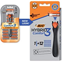 BIC Comfort 3 Hybrid Men's Disposable Razor, Black, 1 Count