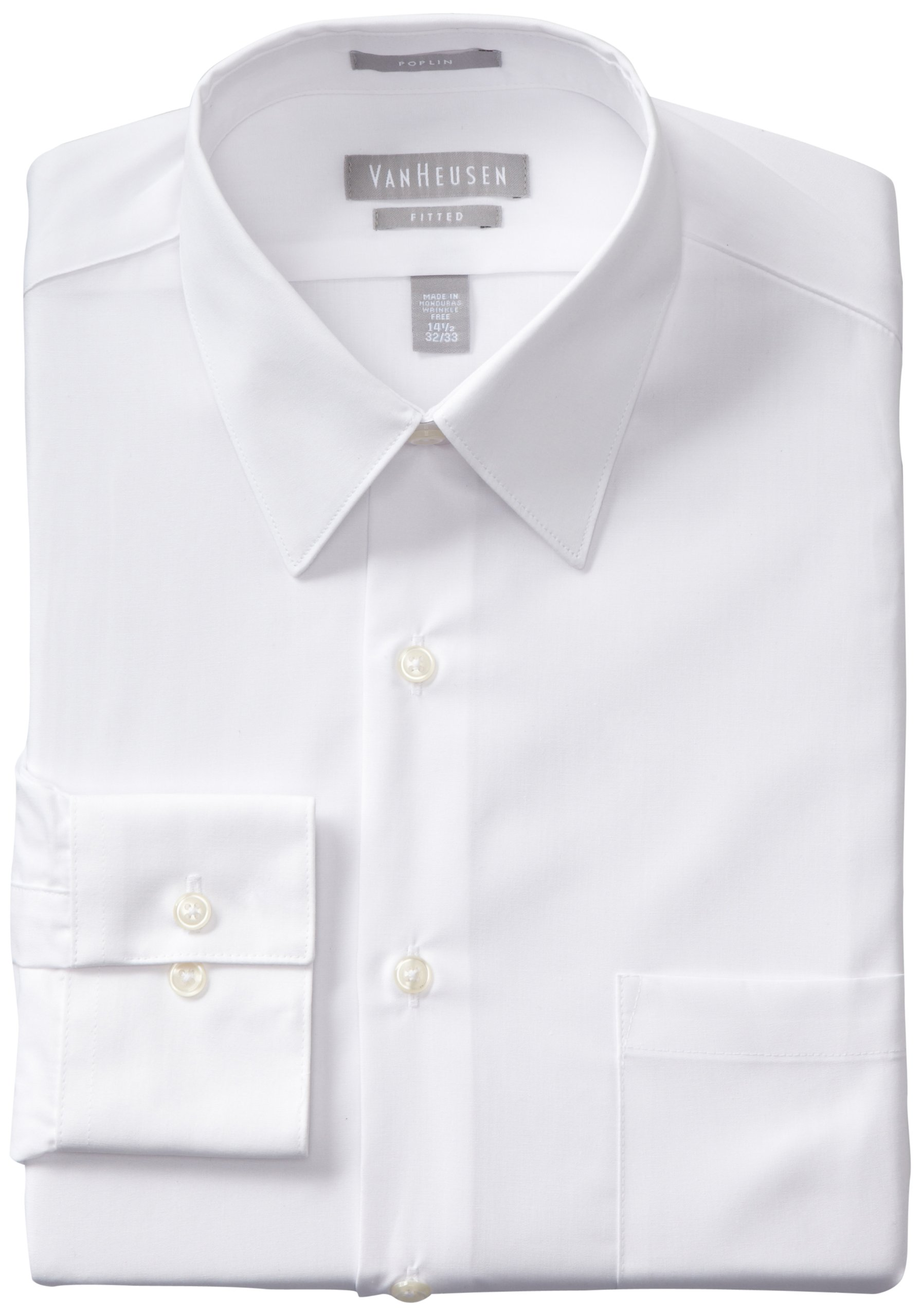 Van Heusen Men's Poplin Fitted Solid Point Collar Dress Shirt, White, 18.5'' Neck 34''-35'' Sleeve