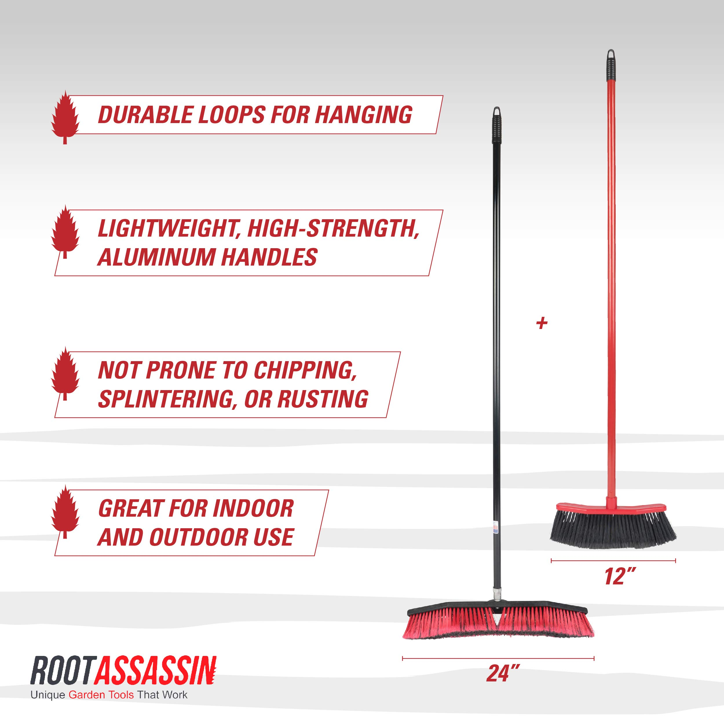 ROOT ASSASSIN House Broom & Push Broom, Keeps Debris Inside Broom, Best for Sweeping Kitchen Floors, Patios, Garages, Shops, Tile, Large Areas, and Wood Floors. Durable, Large, Light (Combo Pack) by ROOT ASSASSIN (Image #3)