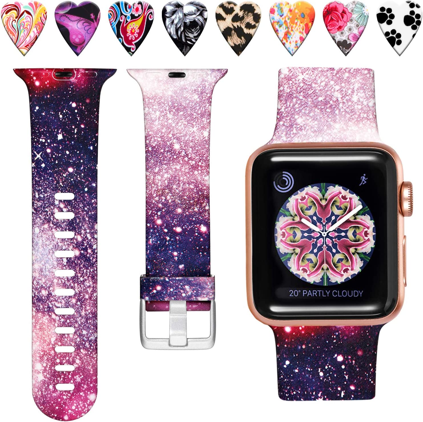 Laffav Compatible with Apple Watch Band 40mm 38mm iWatch SE & Series 6 & Series 5 4 3 2 1 for Women Men, Starry Night, S/M