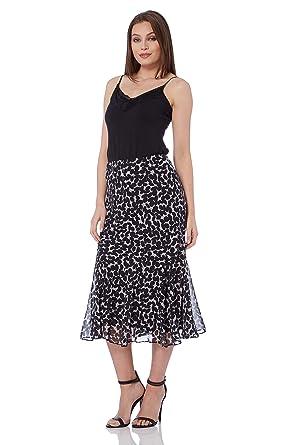 8b1b6156fbad39 Roman Originals Women Animal Print Skirt - Ladies Chiffon Maxi Daytime  Holiday Business Gorgeous Skirts - Black  Amazon.co.uk  Clothing
