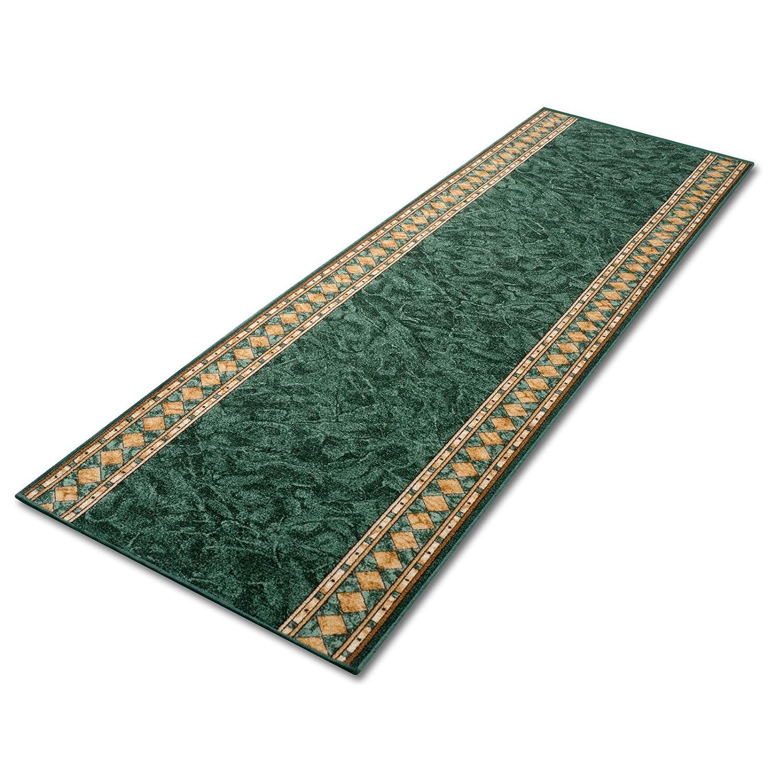 Stufenmatten grün mit aufwendiger Randmusterung     Qualitätsprodukt aus Deutschland   GUT Siegel   kombinierbar mit Läufer   65x23,5 cm   halbrund   15er Set B012CKW5IU Stufenmatten e95285
