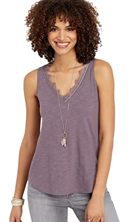 df5040f2dd maurices Women's 24/7 V-Neck Lace Trim Tank Xx Large Purple Smoke at Amazon Women's  Clothing store:
