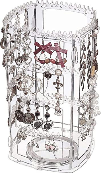 ABOJOY 256 Holes Acrylic Earrings Holder 4 Doors Foldable Necklace Display Rack Hanging Jewelry Organizer Double Sided Stand Display,Clear Fan-shaped