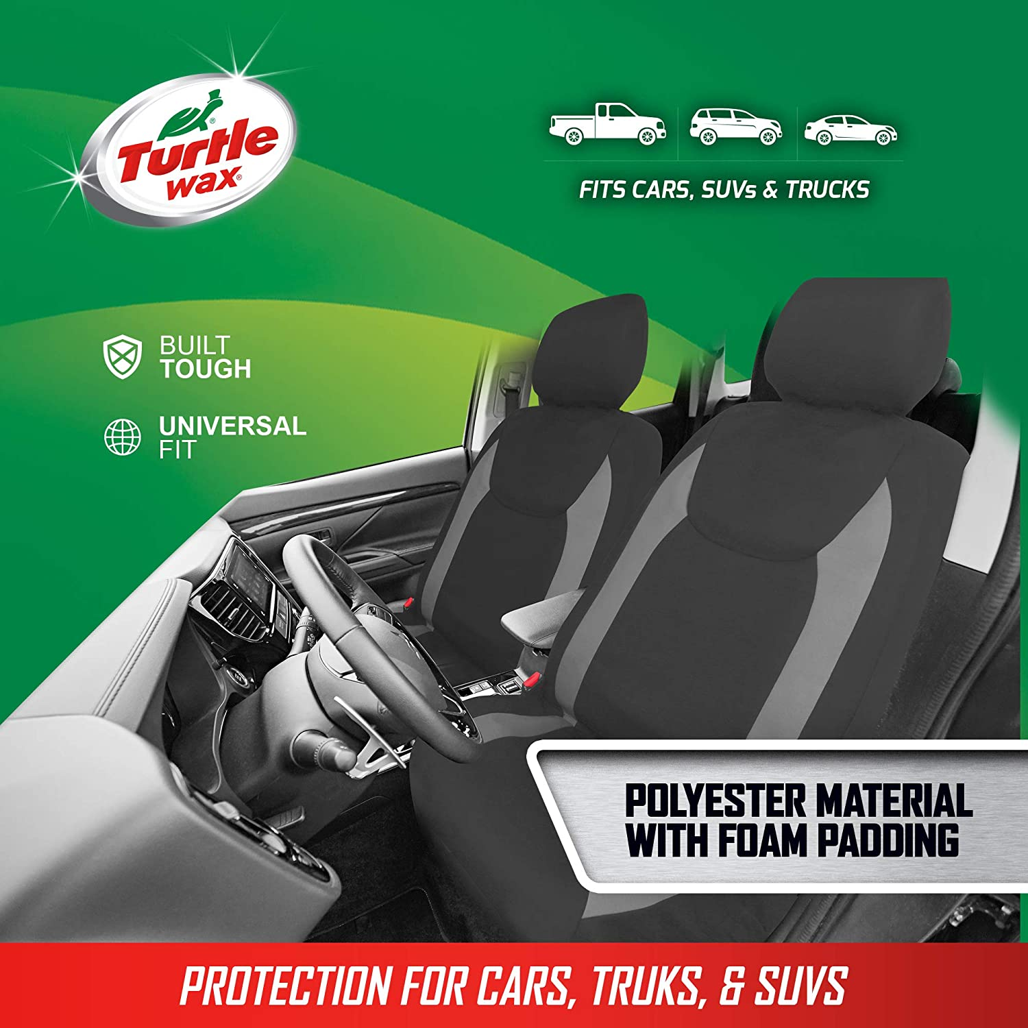 UZZUHI Surfing Sea Turtle Car Seat Covers Protectors for Front Seat for Women Men 2 Pack Bucket Seat Covers for Driver and Passenger Auto Interior Anti-Slip Machine Washable