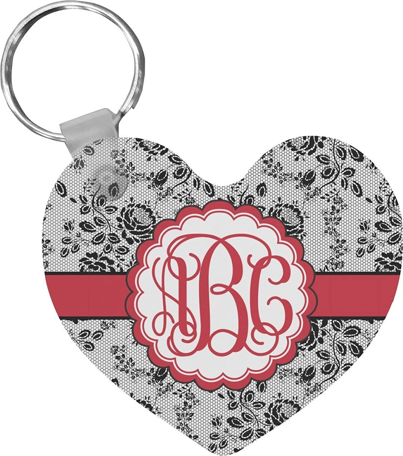 Black Lace Heart Keychain (Personalized)