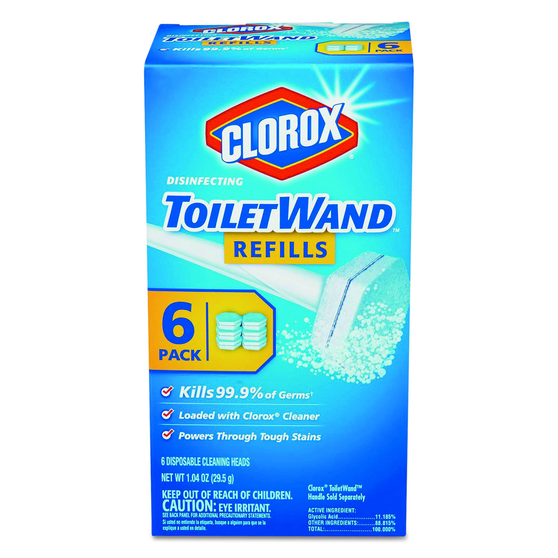 Clorox 14882 CLO14882CT Disinfecting Toilet Wand Refill Heads, Blue/White (Pack of 48)