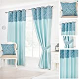 Darcy Teal Top Bordered Ring Top / Eyelet Fully Lined Readymade Curtain Pair 46x72in(116x182cm) Approximately By Hamilton McBride®