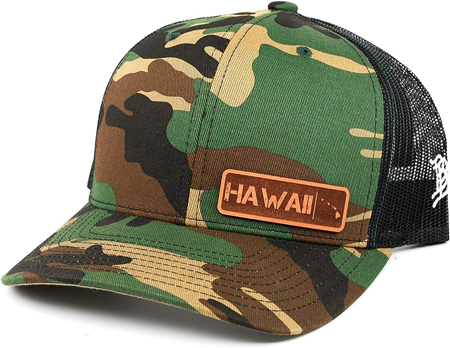 OSFA//Camo Branded Bills /'Hawaii Native Leather Patch Hat Curved Trucker