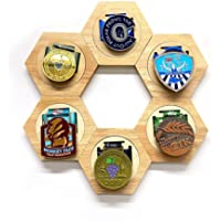 YAOUFBZ Medaille Display Box Zeshoek Box Displays Display Storage Tray Houten Zeshoekige Medaille Organizer Honingraat…