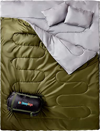 Sleepingo Double Sleeping Bag for Backpacking, Camping, Or Hiking, Queen Size XL Cold Weather 2 Person Waterproof Sleeping Bag for Adults Or Teens. Truck, Tent, Or Sleeping Pad, Lightweight
