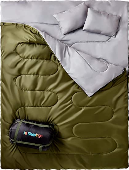 new style 8ba28 4f675 Sleepingo Double Sleeping Bag for Backpacking, Camping, Or Hiking. Queen  Size XL! Cold Weather 2 Person Waterproof Sleeping Bag for Adults Or Teens.  ...