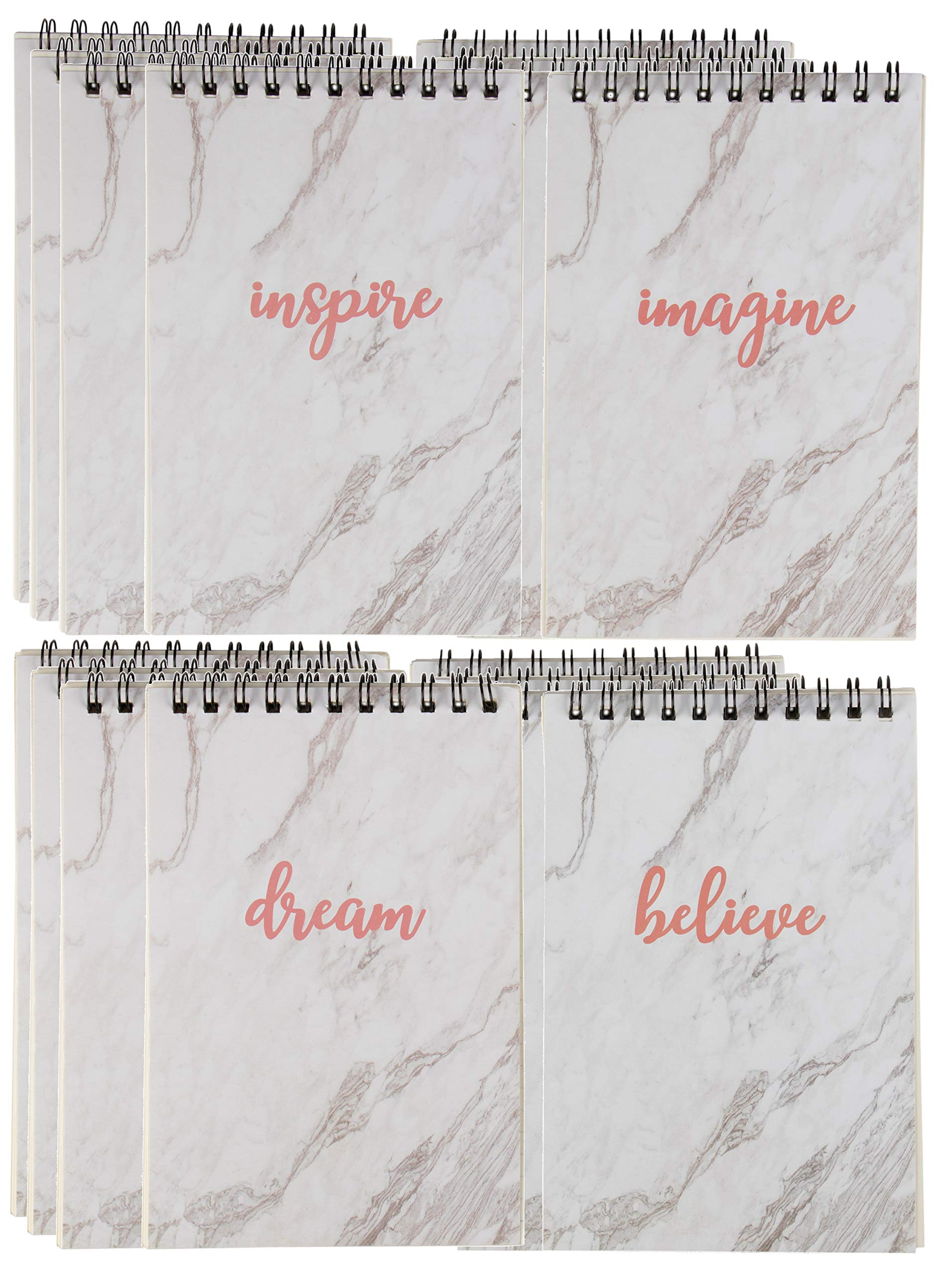 Spiral Notepad - 12-Pack Top Spiral Notebooks, Bulk Mini Spiral Notepads for Journaling, Note Taking, To-do Lists, Lined Paper, 4 Designs Inspirational Words in Marble Print, 4 x 6 Inches