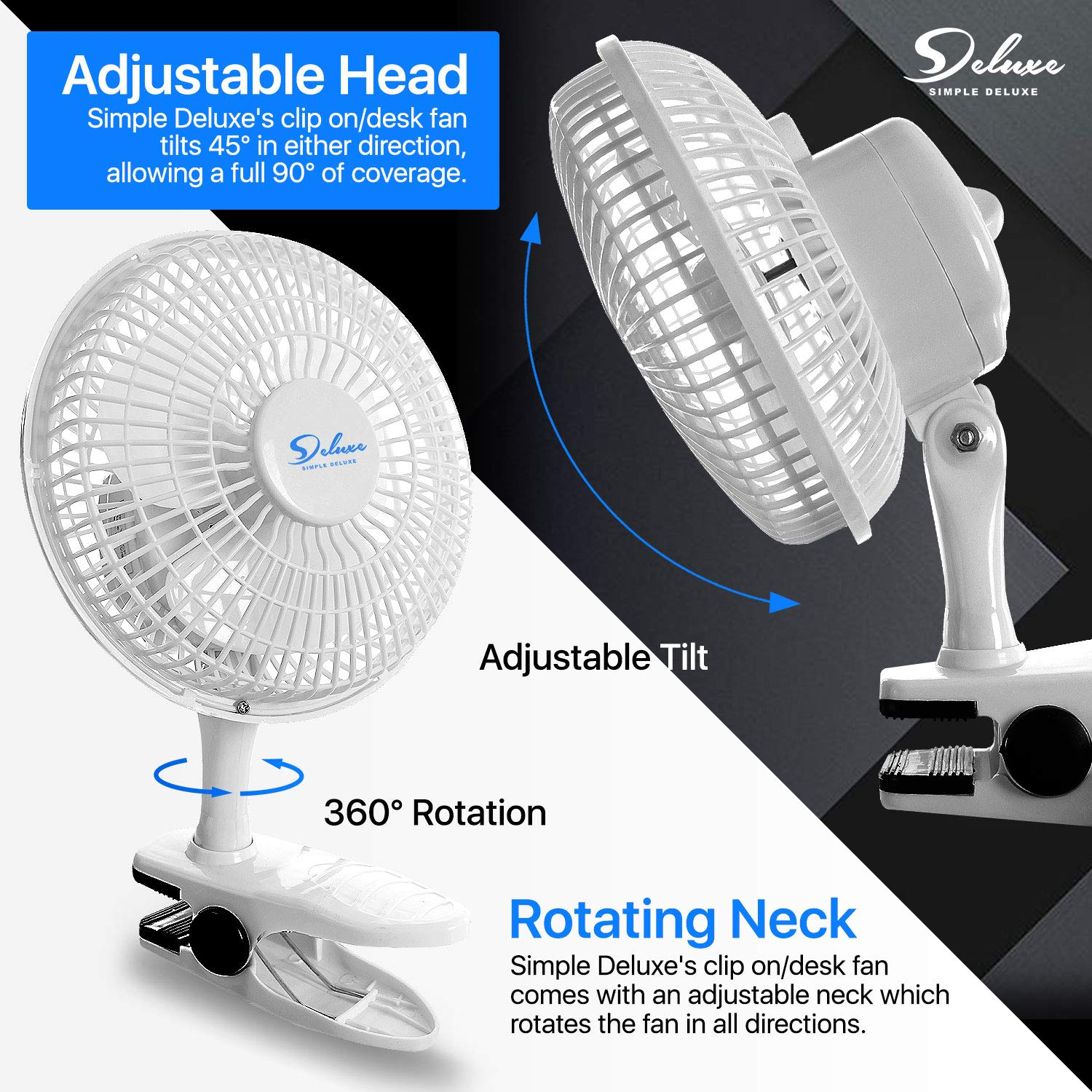 ETL Certified HIFANXCLIP6X2 Simple Deluxe 2-PACK 6-Inch 2-Speed Clip On Desktop Table Stationary Electric Fan with Clamp and Removable Pedestal
