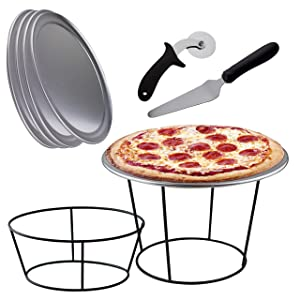 Pizza Accessories Set- 4 Pizza Riser Stands for Tables, 4 Pizza Serving Tray Pans 12 Inch, 4 Pizza Spatula Pie Servers, 1 Pizza Wheel Cutter