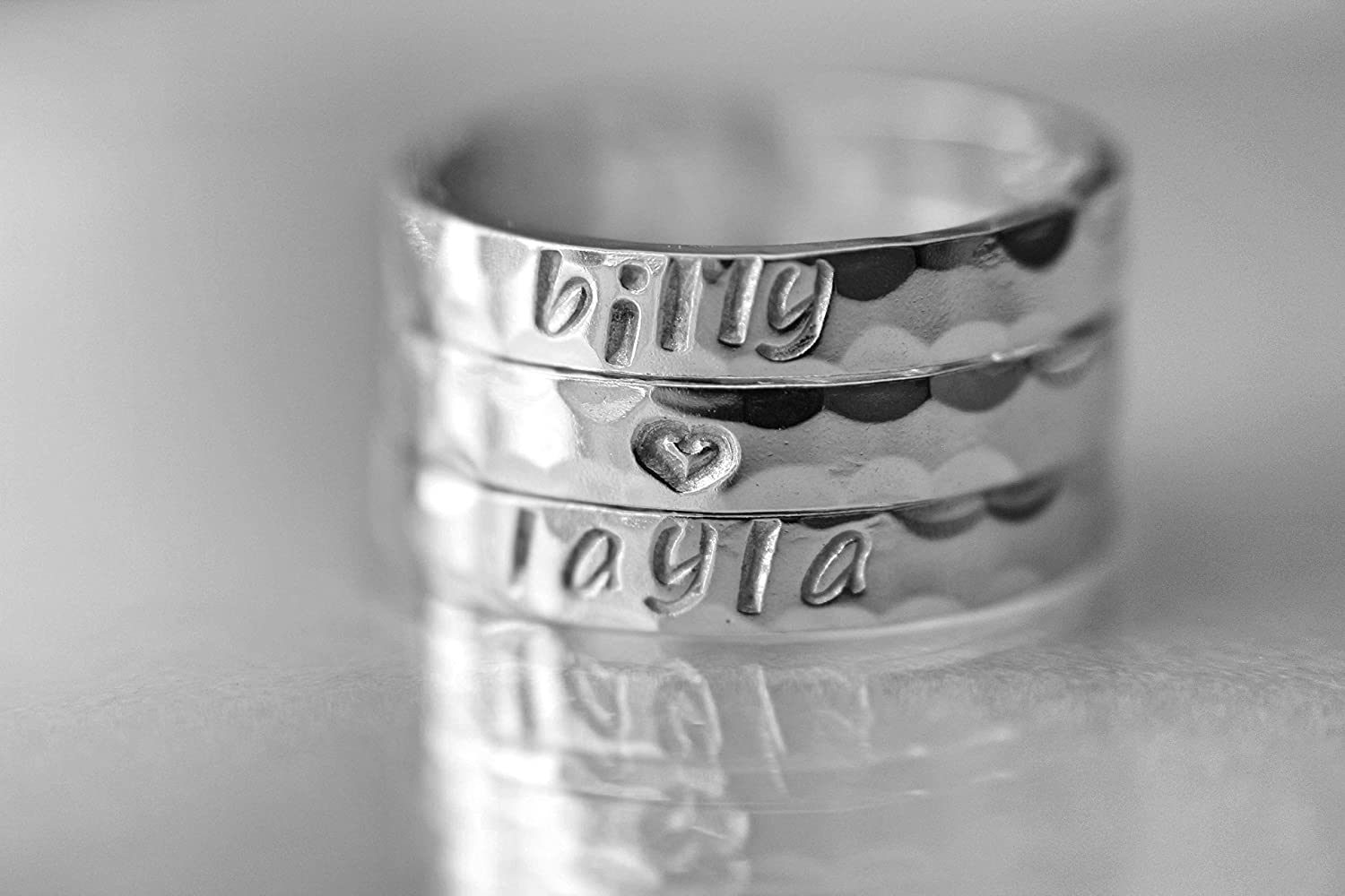 Initial Ring Birthday Gift Sterling Silver Ring Name Ring Customized Ring Kids Gift Hand stamped ring Mother/'s Gift