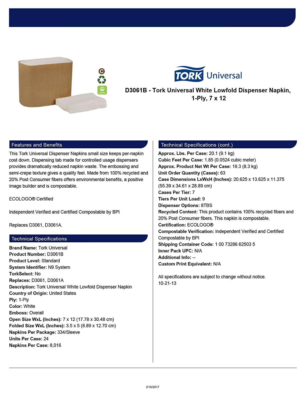 Amazon.com: Tork Universal D3061B Lowfold Dispenser Napkin, Overall Embossed, 1-Ply, 12