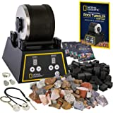 NATIONAL GEOGRAPHIC Professional Rock Tumbler Kit - Complete Rock Tumbler Kit with Durable Tumbler, Rocks, Grit, and Patented