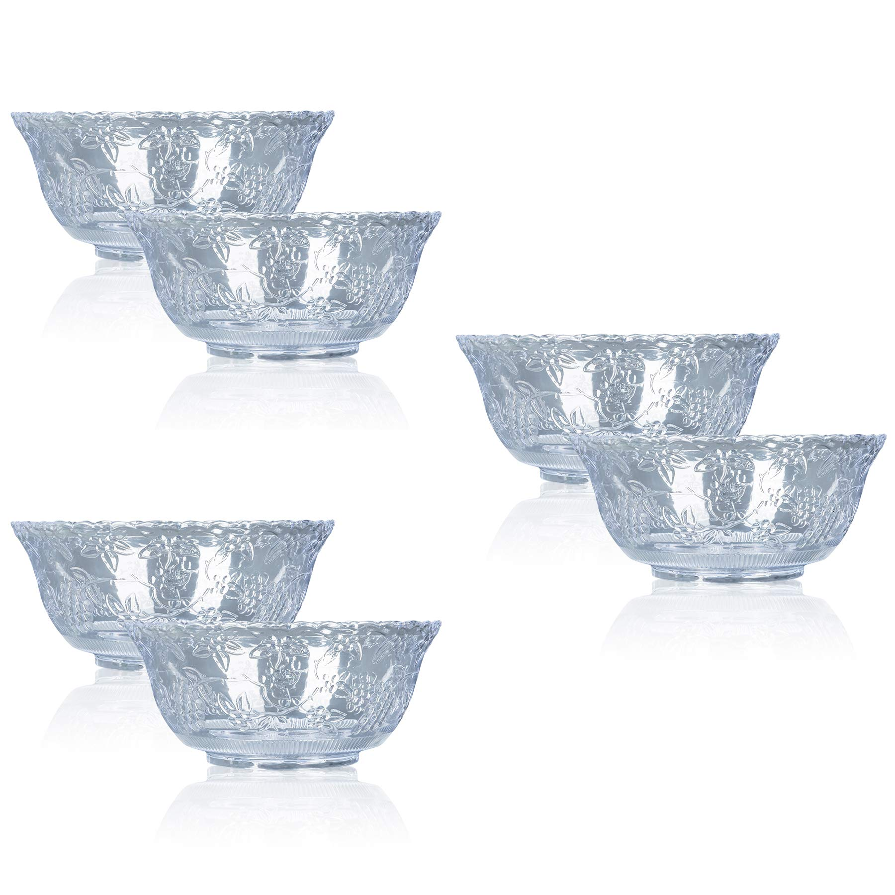 Professional Quality 8 Qt. Clear Plastic Punch Bowls - Set of 6