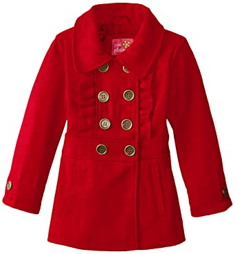 Amazon.com: Pink Platinum Little Girls' Faux Wool Peacoat with ...