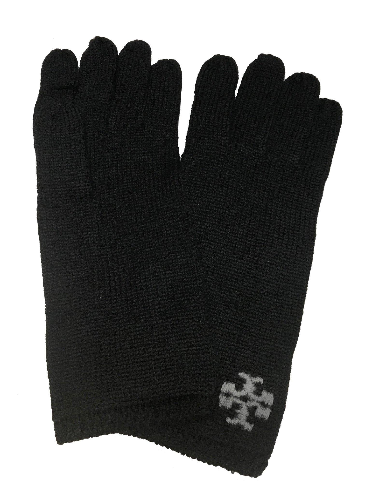 Tory Burch Womens Whipstitch Merino Wool Gloves Black