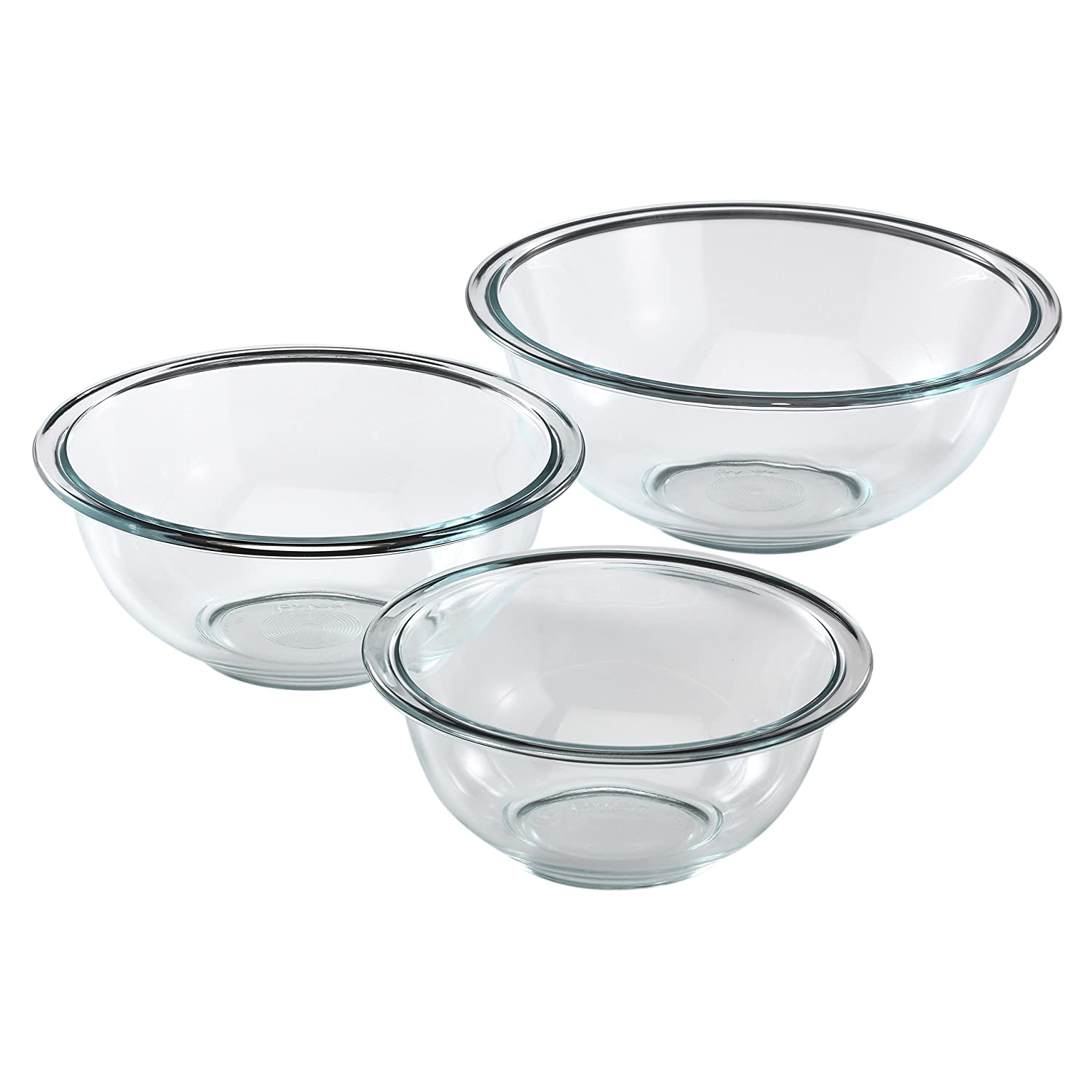 Clear Pyrex Prepware 3-Piece Glass Mixing Bowl Set