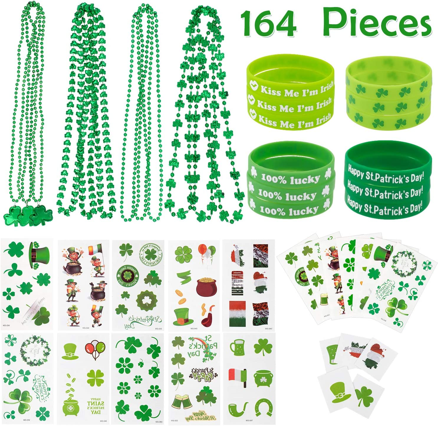 Patrick Irish Party Supplies Decorations Whaline 164 Pieces St Patrick/'s Day Party Favor Set Include 12 Green Rubber Wristbands bracelet 12 Shamrock Necklace and 140 Piece Temporary Tattoo Sticker for St