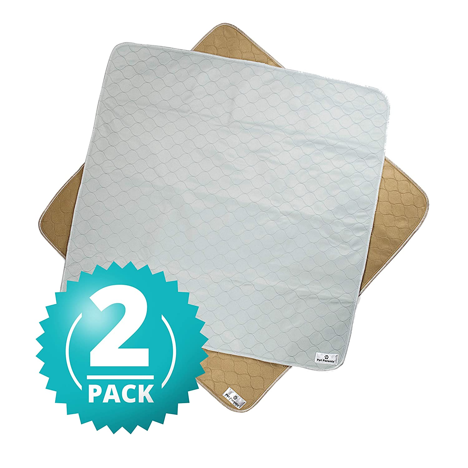 Natural 41x41 (2pack) Natural 41x41 (2pack) Pet Parents Washable Dog Pee Pads (2pack) of (41x41) Premium Pee Pads for Dogs, Waterproof Whelping Pads, Reusable Dog Training Pads, Quality Travel Pet Pee Pads. Modern Puppy Pads  (1 Tan & 1 Grey)