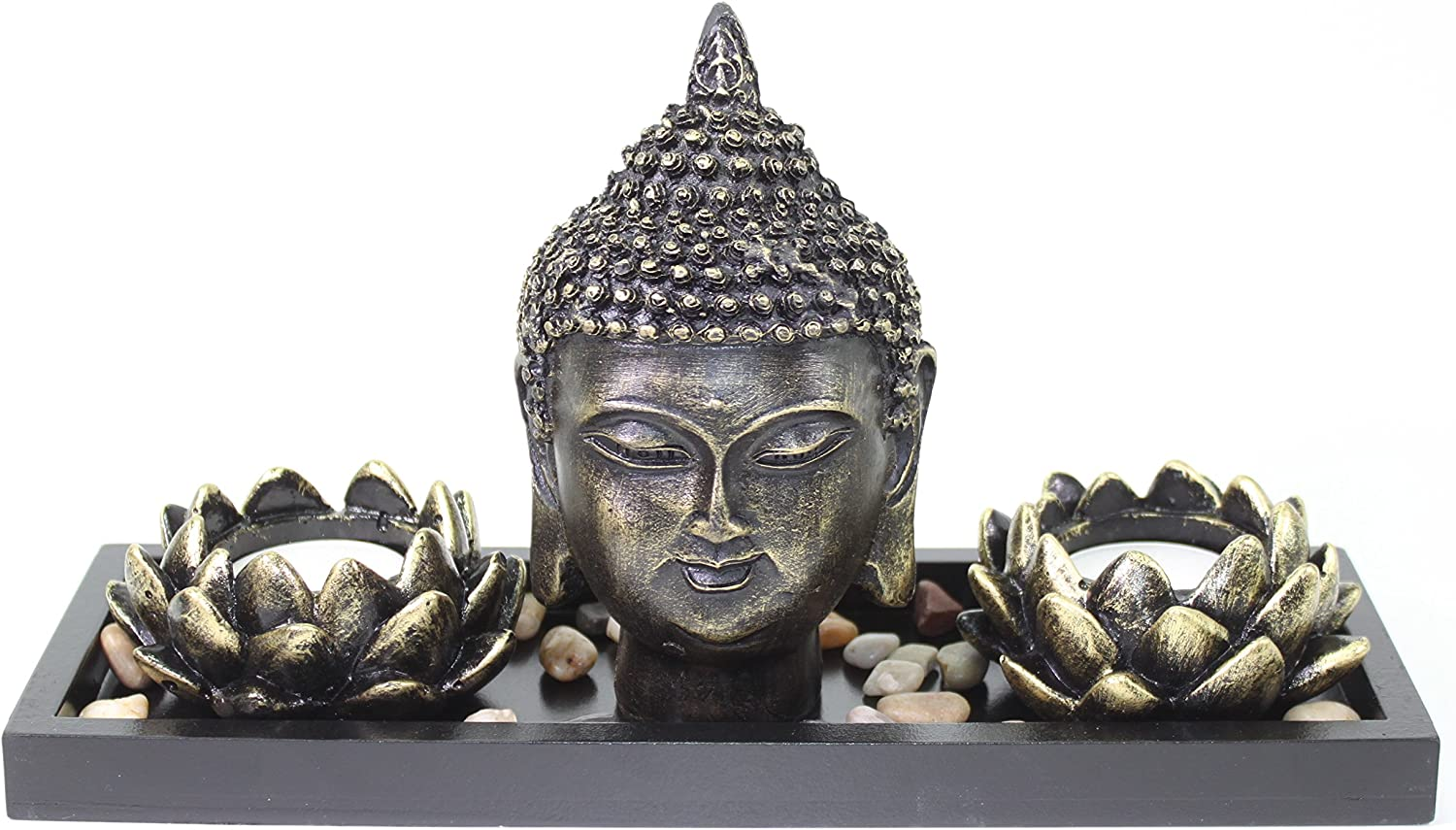 Tabletop Buddha Head Lotus Tea Light Candle Holder Home Decor Relaxing Gift Zen Garden Series