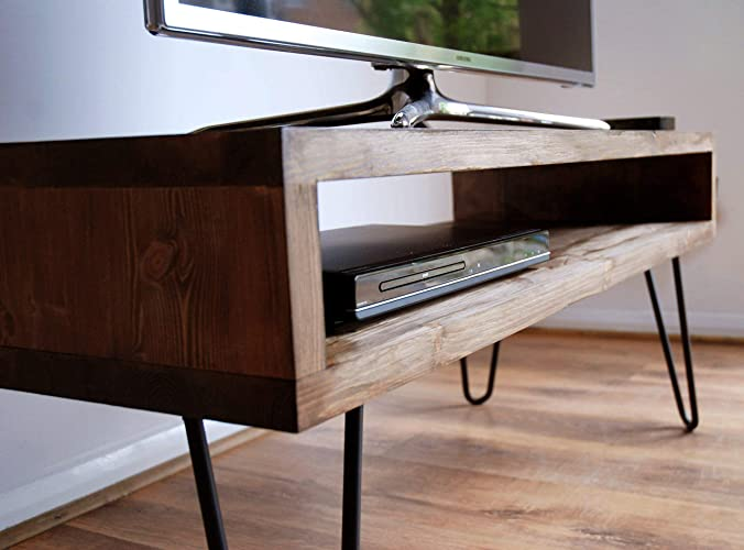 Vintage Retro Box Tv Stand With Metal Hairpin Legs Solid Wood Rustic Unit Table