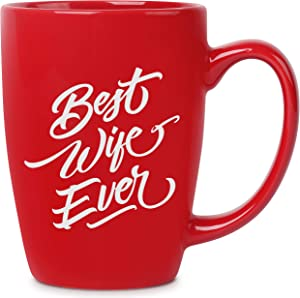 Best Wife Ever - 14 oz Red Bistro Coffee Mug - Best Gifts Ideas for Wife Women Her - Birthday Valentines Anniversary Mothers Day - Funny Novelty Unique Present - Mugs Cups Presents Mugs