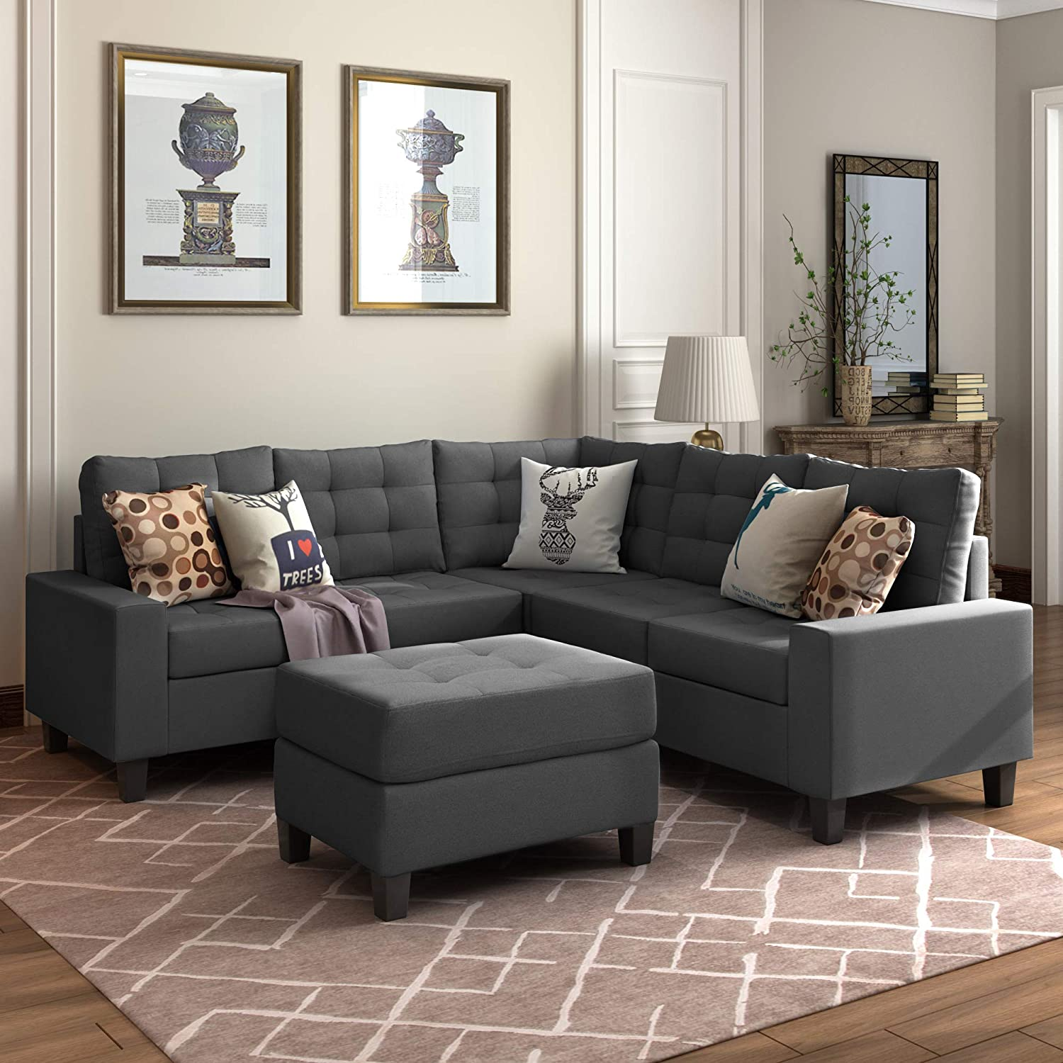 Merax Sectional Sofa with Ottoman 3-Piece Sofa for Living Room Furniture (Dark Grey)