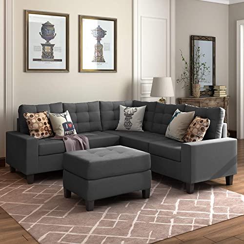 Merax Sectional Sofa Set 3 Piece Sectional Sofa with Ottoman L-Shaped Sectioanl Sofa for Living Room,Gray