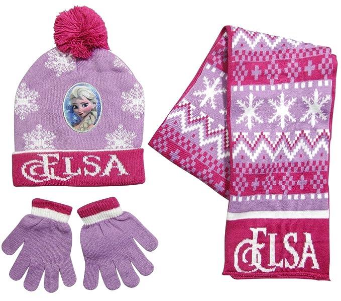 M/ütze Schal Handschuhe Die Eisk/önigin Disney ELSA Kinder-Winter Set 3-TLG Frozen