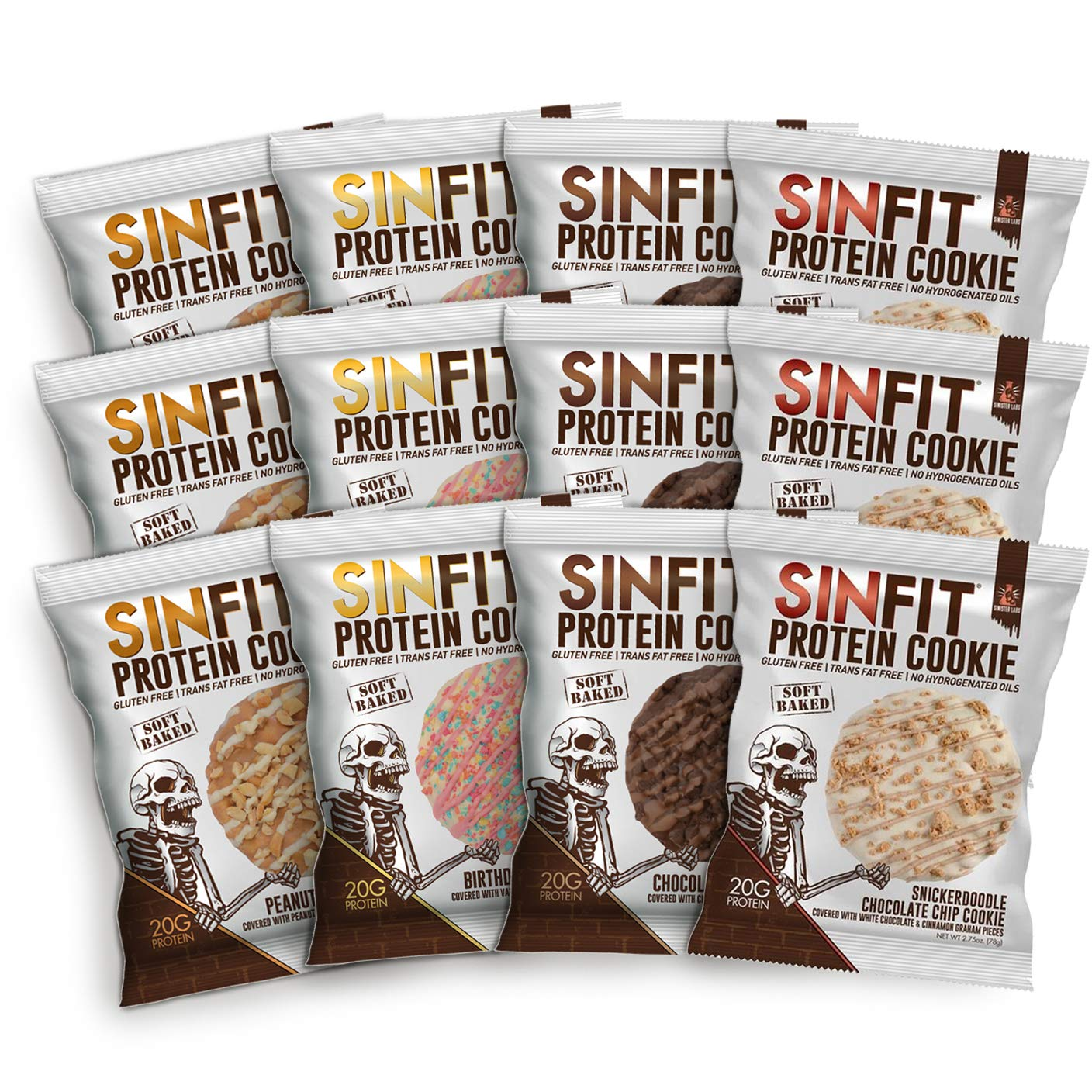 SINFIT Protein Cookies Variety Pack by Sinister Labs - All FOUR Original Flavors! Soft baked cookies, packed with 20g of protein and only 7g of sugar ...