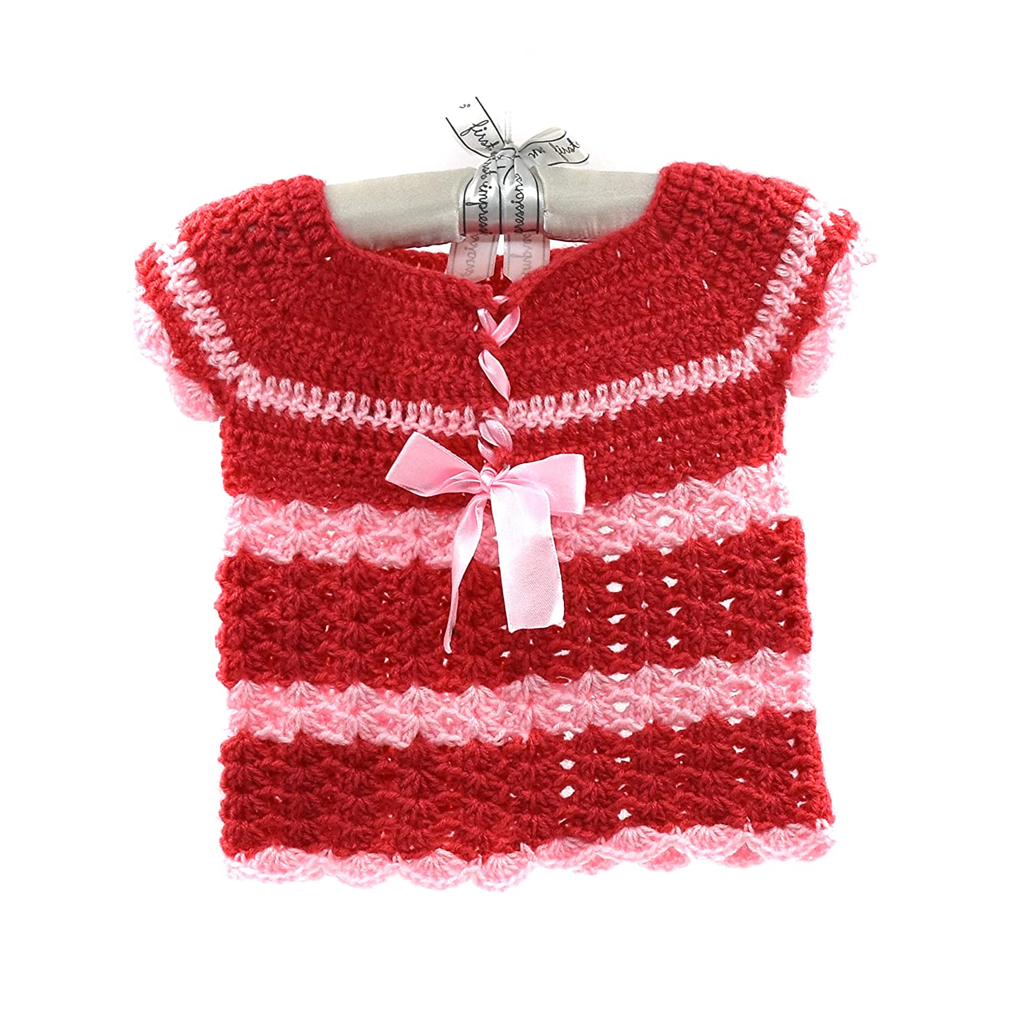 Magic Needles Handmade Knit Baby Girls Infant Newborn Winter Woolen Full Sleeves Sleeveless Sweater Pullover Cardigan