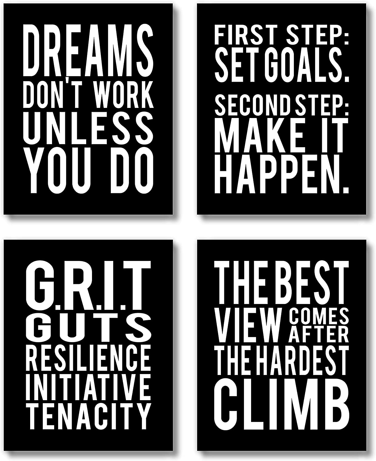 Brooke & Vine Motivational Quotes Wall Decor Posters Inspirational Wall Art Prints (UNFRAMED 8 x 10 Set of 4) Classroom Decorations - Office, Bedroom, Dorm, Cubicle, Gym - Goals, Grit - Black