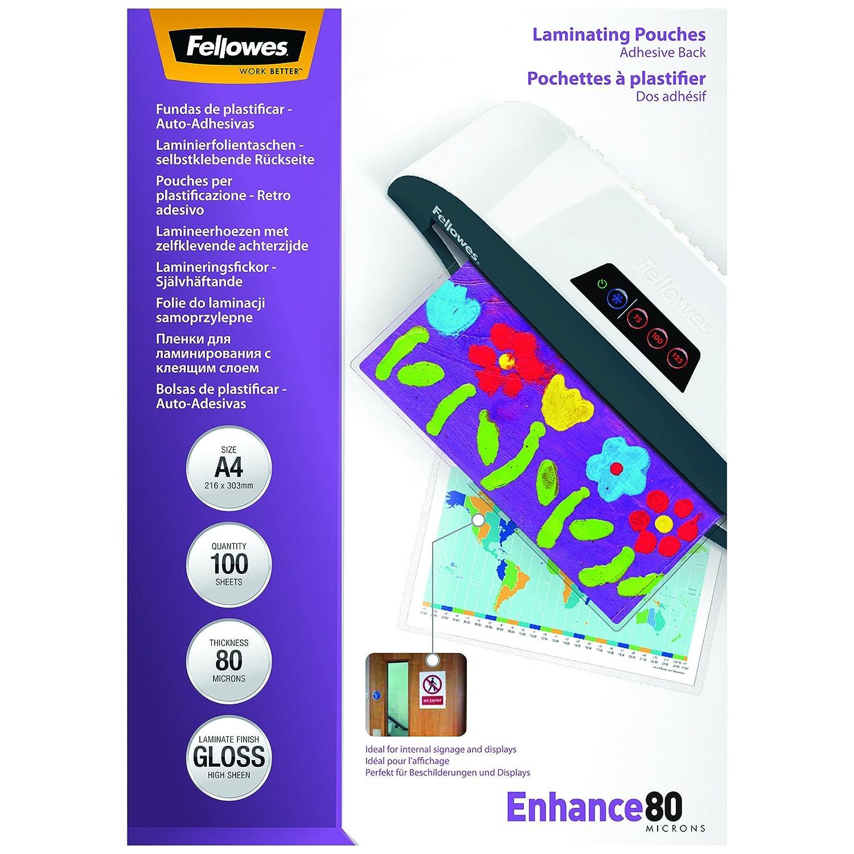 Fellowes 5328901 - Pack de 100 bolsas plastificadoras autoadhesivas, A4