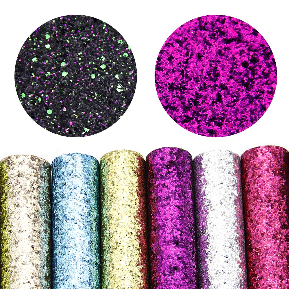 David accessories Glitter Sequins Fabric Faux Leather Sheets Synthetic Leather Fabric 11 Pcs 8'' x 13'' (20 cm x 34 cm) Assorted Colors Thick Canvas Back Craft for DIY Earrings Making (11 Color) by David accessories (Image #2)
