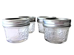 Mason Ball Jelly Jars-4 oz. each - Quilted Crystal Style-Set of 4