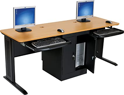 72 inch computer desk jamocha wood balt lx 72 double workstation inch wide locking cpu holder teak amazoncom