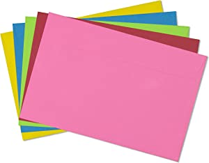 EnDoc 9x12 Open Side Colored Envelopes - 15 Pack - Assorted Colors - 24lb. Heavyweight Paper Gummed Seal Envelope, For Greeting Cards, Invitations, Home, Office, Business, or School.