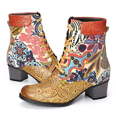 competitive price b422a c9b8c Warme Lederstiefel Bedruckt Retro Pflanze Blume ...
